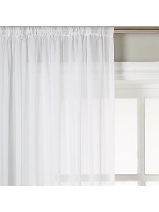 John Lewis & Partners Plain Cotton Slot Top Voile Panel,White