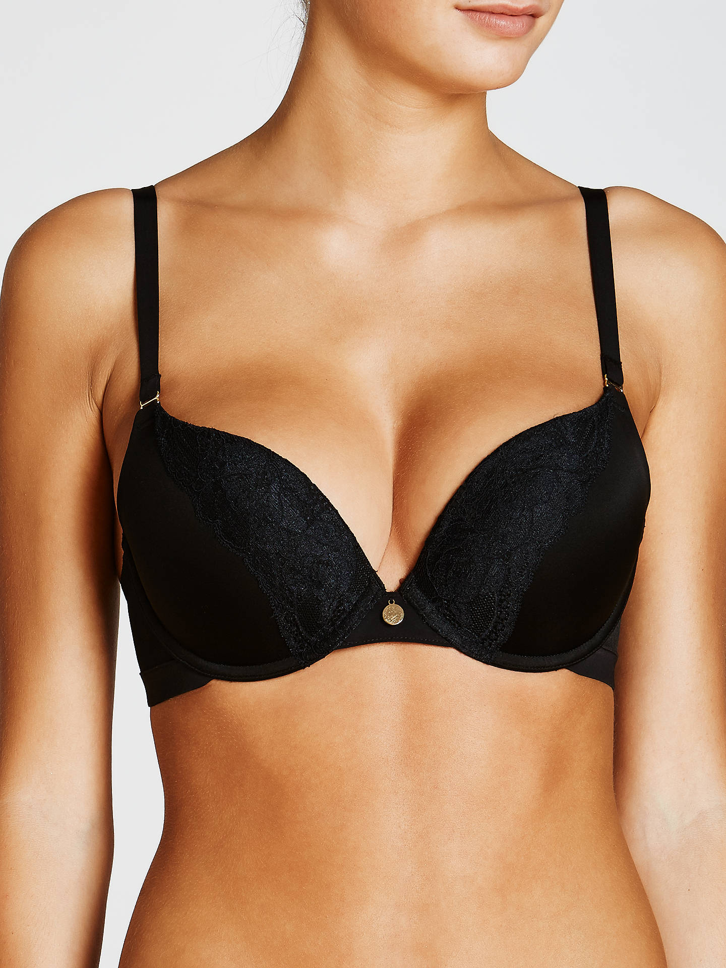 BuyJohn Lewis & Partners Roxanne Underwired Push Up Bra, Black, 30C Online at johnlewis.com