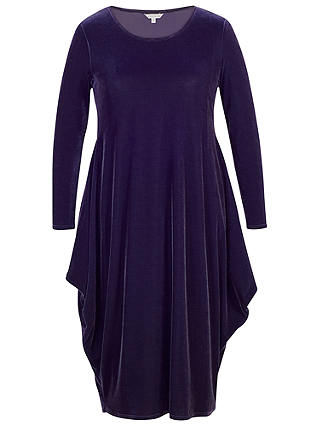 Buy Chesca Velvet Drape Dress, Navy, 12-14 Online at johnlewis.com