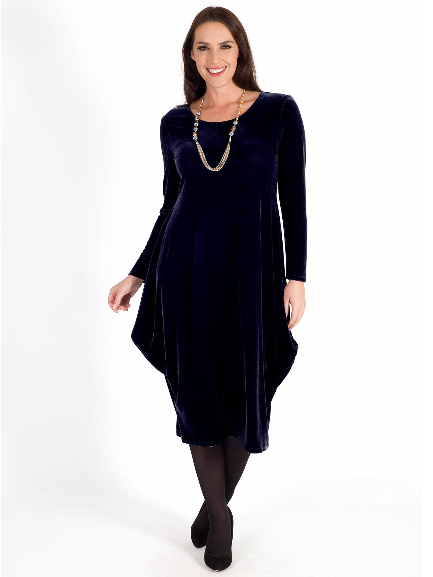 BuyChesca Velvet Drape Dress, Navy, 12-14 Online at johnlewis.com