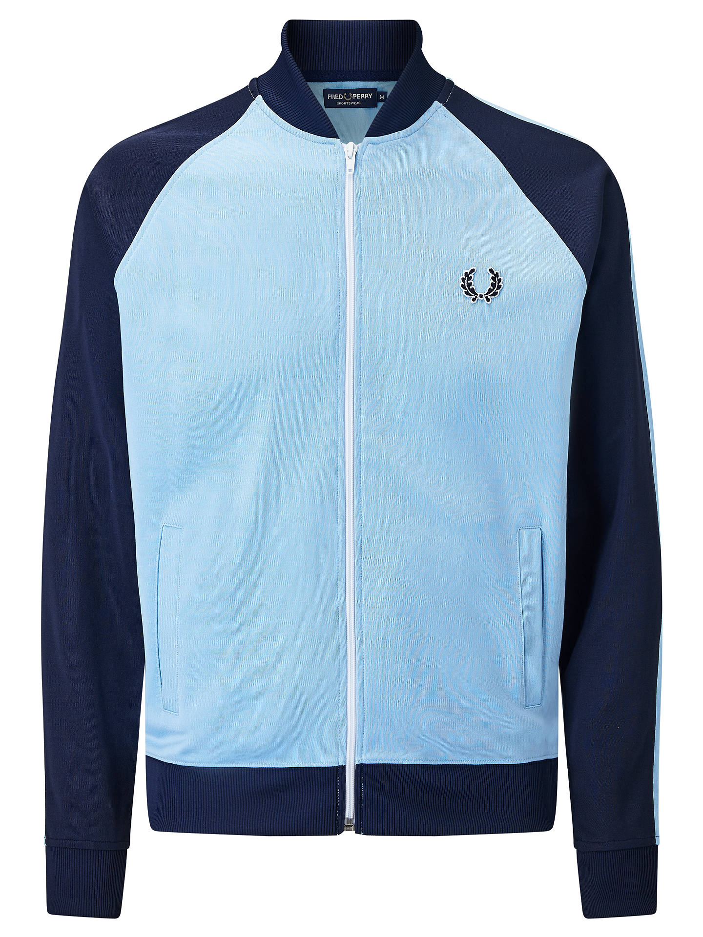 0ecf4eb60 Fred Perry Sports Authentic Bomber Track Jacket, Sky Blue at John ...