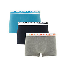 Buy BOSS Solid Stretch Cotton Trunks, Pack of 3, Blue/Navy/Grey Online at johnlewis.com