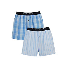 Buy BOSS Check Woven Cotton Boxers, Pack of 2, Blue Online at johnlewis.com
