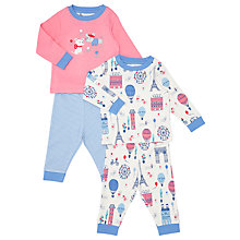 Buy John Lewis Baby Paris Dog Pyjamas, Pack of Two, Pink Online at johnlewis.com