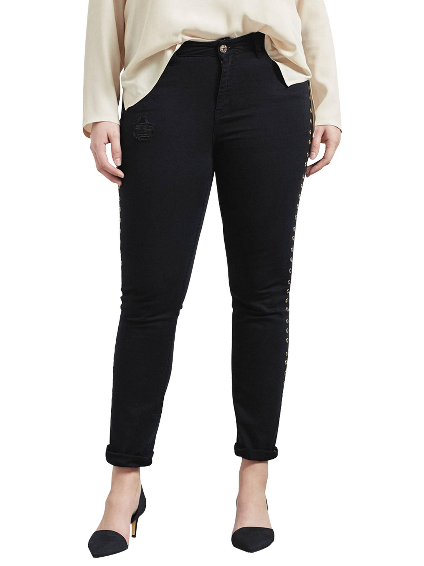 2a5642ed2abe1c Buy Violeta by Mango Stud Detail Slim Fit Jeans, Black, 14 Online at  johnlewis ...
