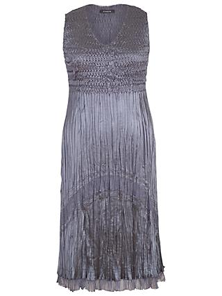 Chesca Chiffon And Lace Pleat Dress, Steel
