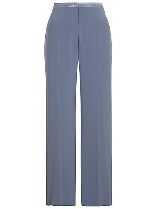 Chesca Top Stitched Waist Satin Back Trousers, Steel