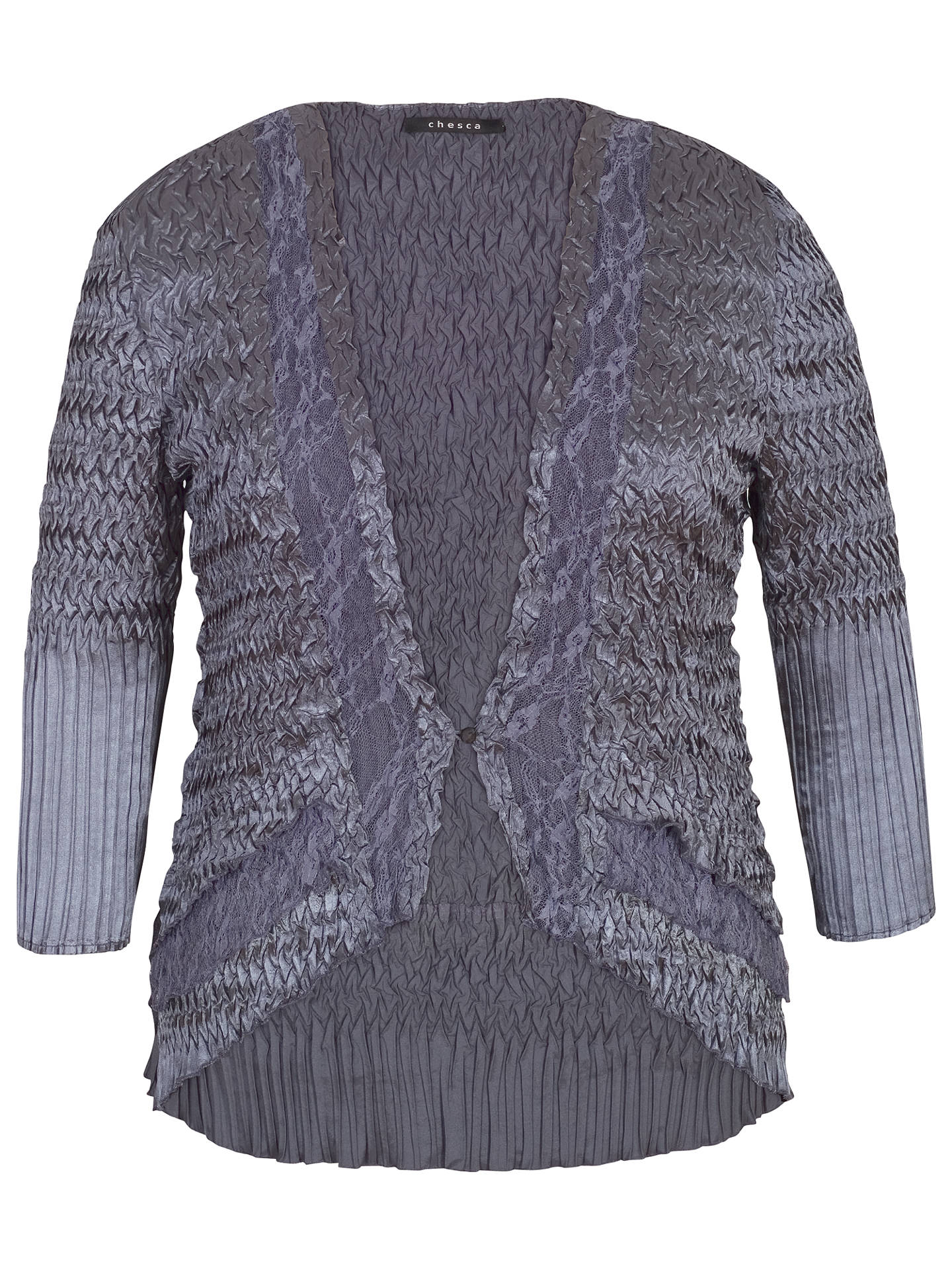 BuyChesca Pleat Lace and Satin Shrug, Steel, 16-18 Online at johnlewis.com