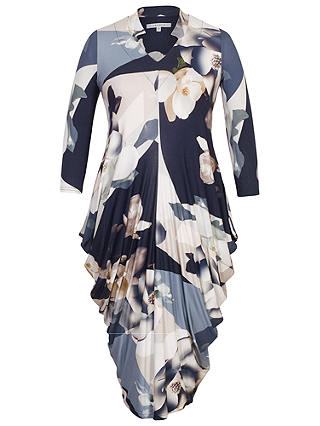 Buy Chesca Orchid Print Jersey Dress, Blue, 12-14 Online at johnlewis.com