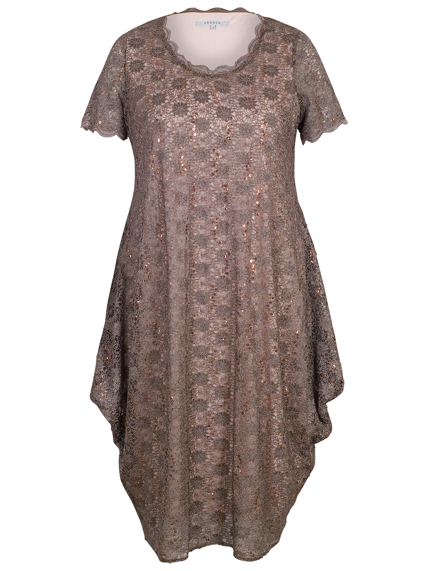 Buy Chesca Scallop Lace And Sequin Dress, Mocha, 12-14 Online at johnlewis.com