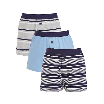 Product photo of John lewis boys stripe boxers pack of 3 blue