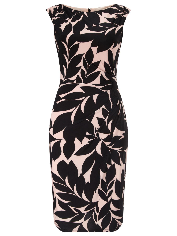 Phase Eight Nima Print Dress, Black