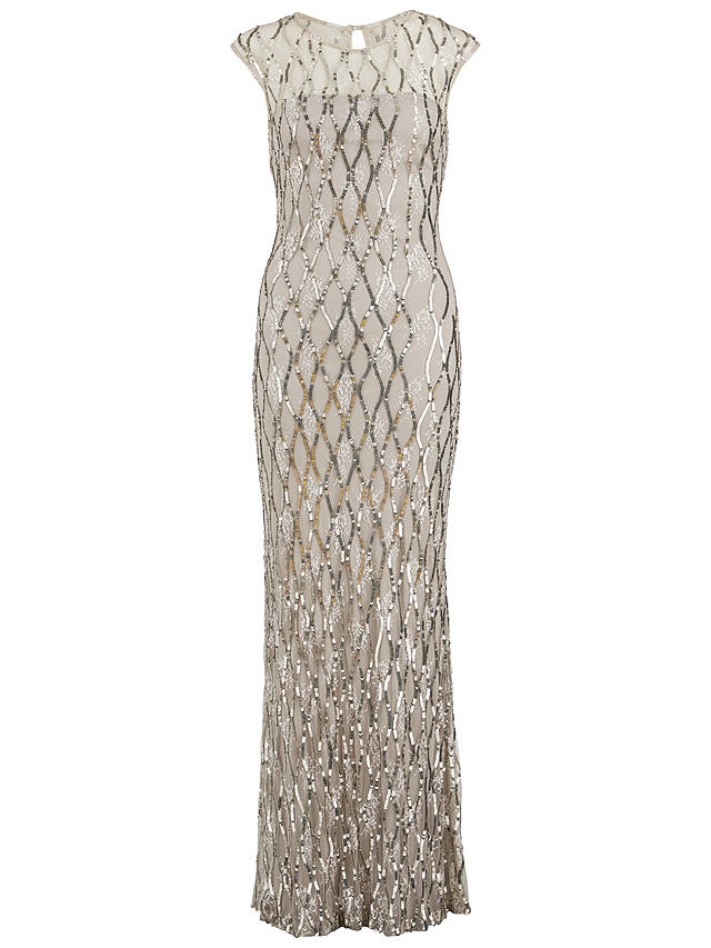 Buy Gina Bacconi Sequin Lace Maxi Dress, Silver, 18 Online at johnlewis.com