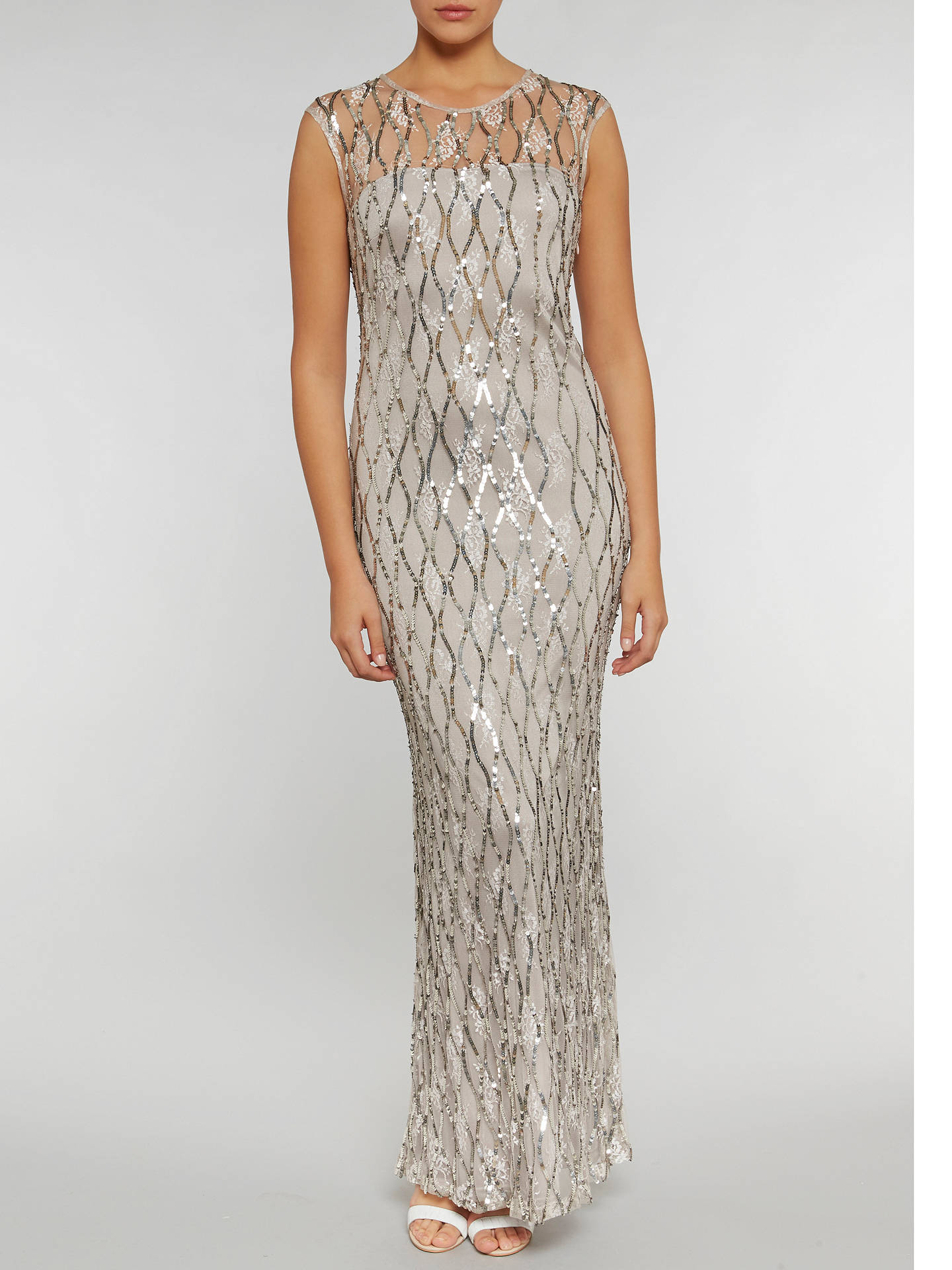 Buy Gina Bacconi Sequin Lace Maxi Dress, Silver, 8 Online at johnlewis.com