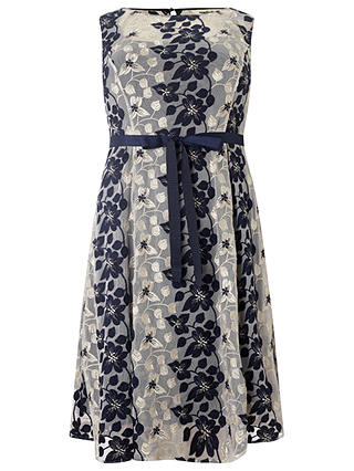 Buy Studio 8 Carlotta Embroidered Dress, Navy/Silver, 16 Online at johnlewis.com