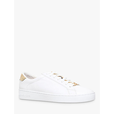 Buy MICHAEL Michael Kors Irving Flat Trainers, White/Gold Leather Online at johnlewis.com