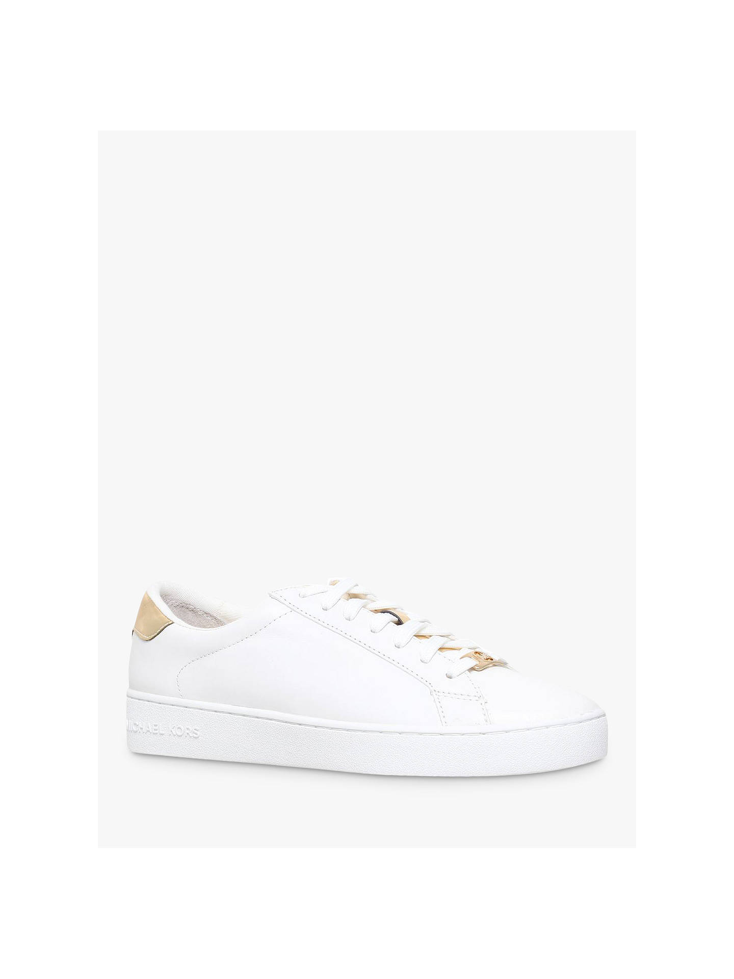 e8c26db34 Buy MICHAEL Michael Kors Irving Flat Trainers, White/Gold Leather, 7 Online  at ...