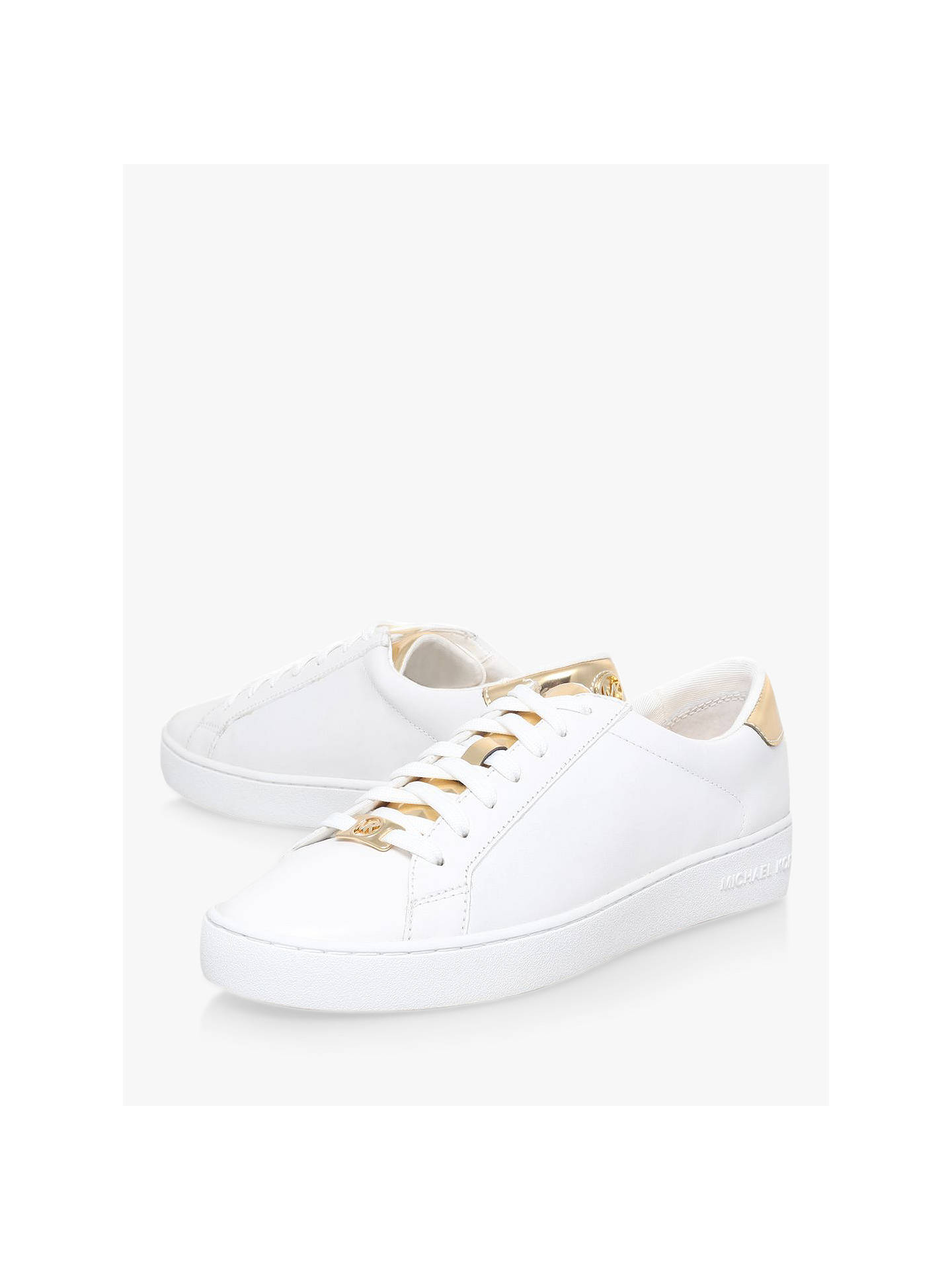Buy MICHAEL Michael Kors Irving Flat Trainers, White/Gold Leather, 2 Online at johnlewis.com