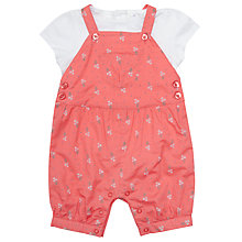 Buy John Lewis Baby Floral Bibshort and Top Set, Red/Multi Online at johnlewis.com
