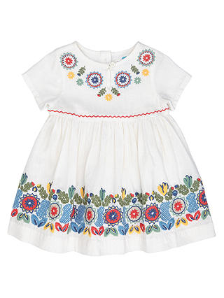 Buy John Lewis Baby Embroidered Dress, Cream, 0-3 months Online at johnlewis.com
