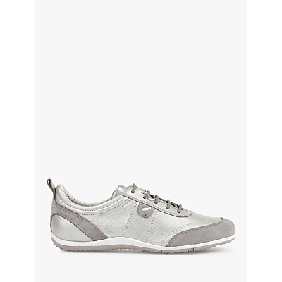 Geox Vega Leather Lace Up Trainers, Silver/Light Grey