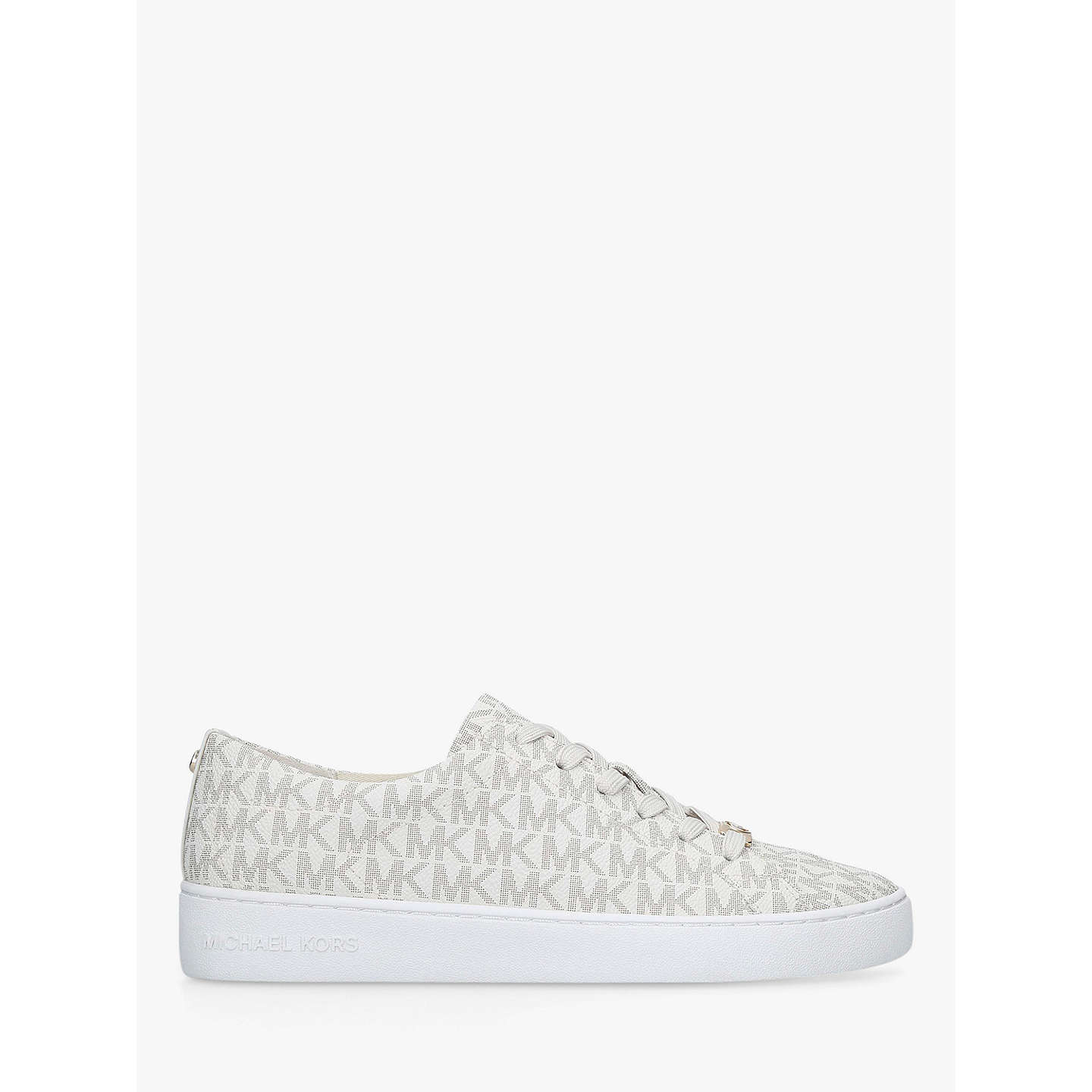 BuyMICHAEL Michael Kors Keaton Flat Lace Up Trainers, Cream, 3 Online at  johnlewis.