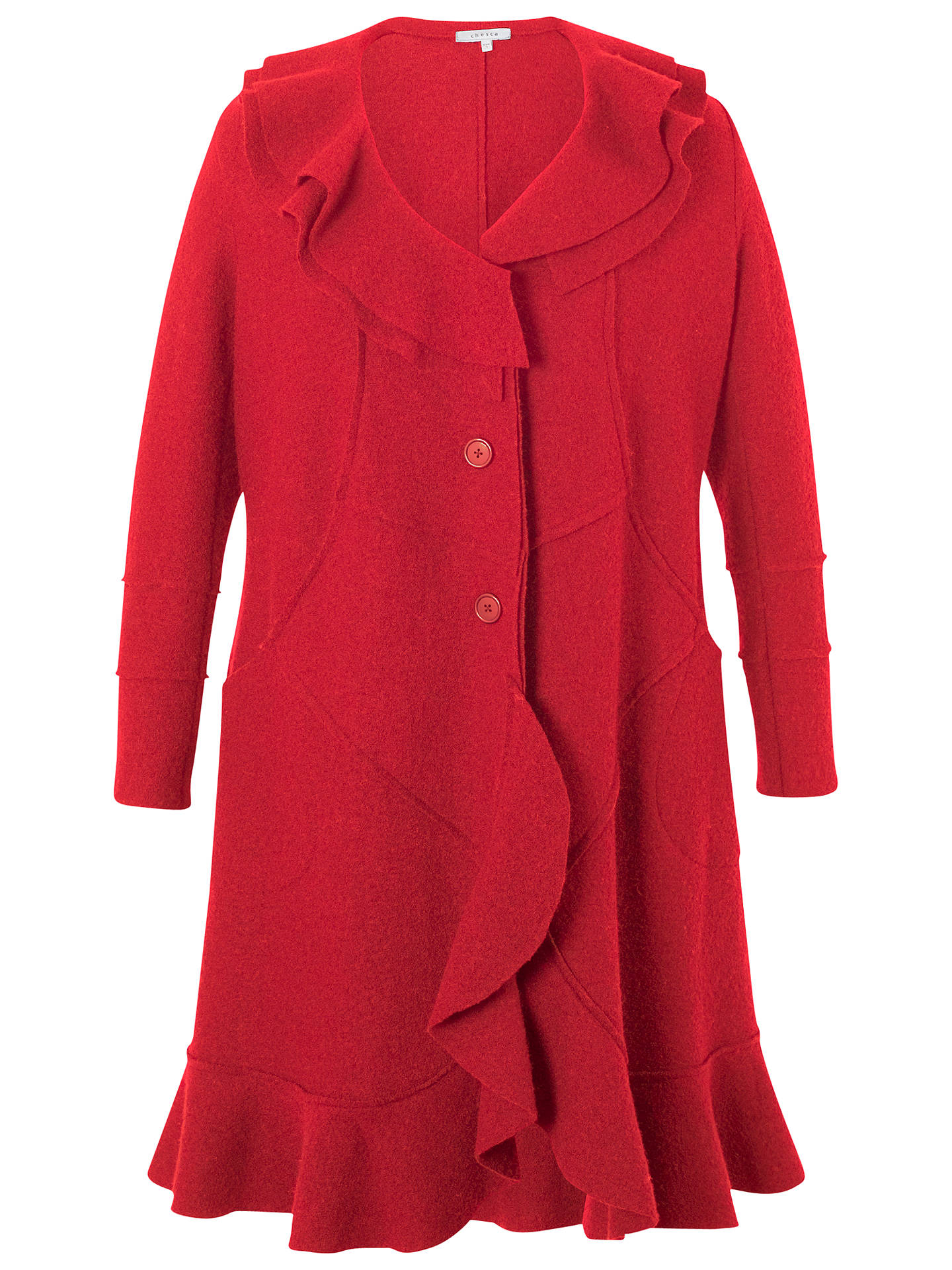 Buy Chesca Flounce Trim Wool Coat, Red, 12-14 Online at johnlewis.com