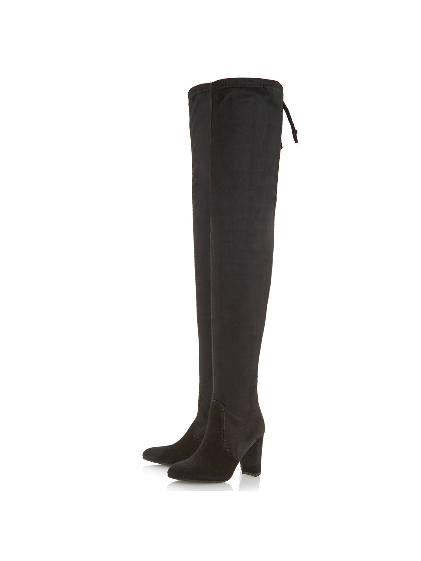 Dune Sibyl Block Heeled Over the Knee Boots, Black Suede at