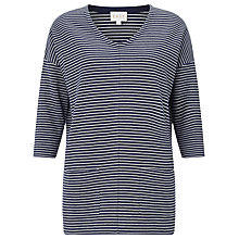 Buy East Stripe Ribbed Jersey Top, Ink Online at johnlewis.com