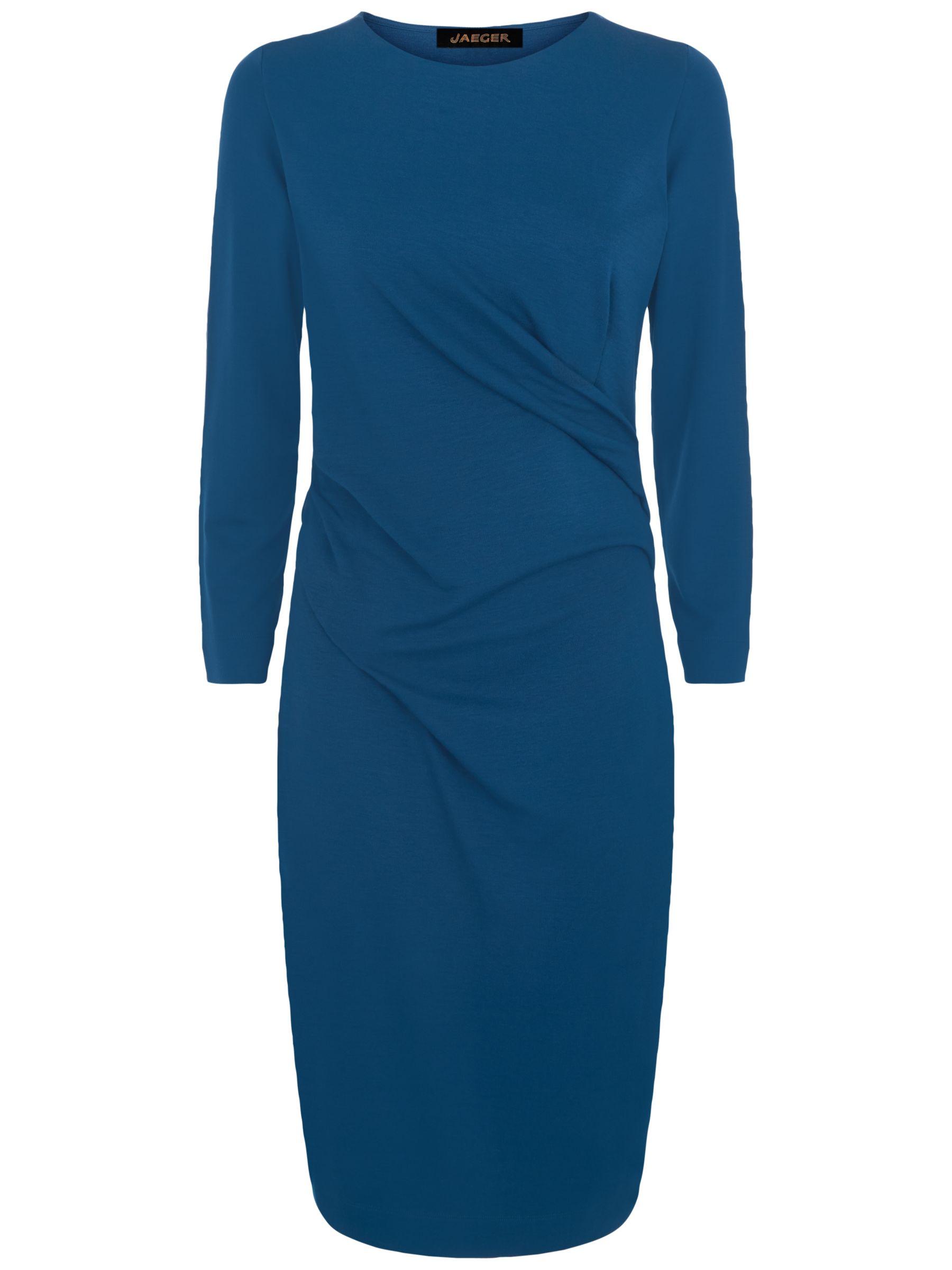Jaeger Ponte Jersey Drape Dress Teal At John Lewis Partners