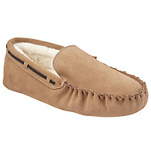 Buy John Lewis Children's Classic Suede Moccasin Slippers, Tan Online at johnlewis.com