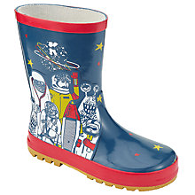Buy John Lewis Space Badge Print Wellington Boots, Blue Online at johnlewis.com