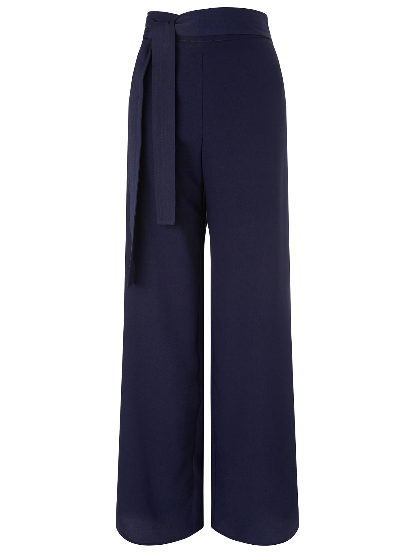 Buy Miss Selfridge Tie Waist Wide Leg Trousers, Navy, 6 Online at johnlewis.com