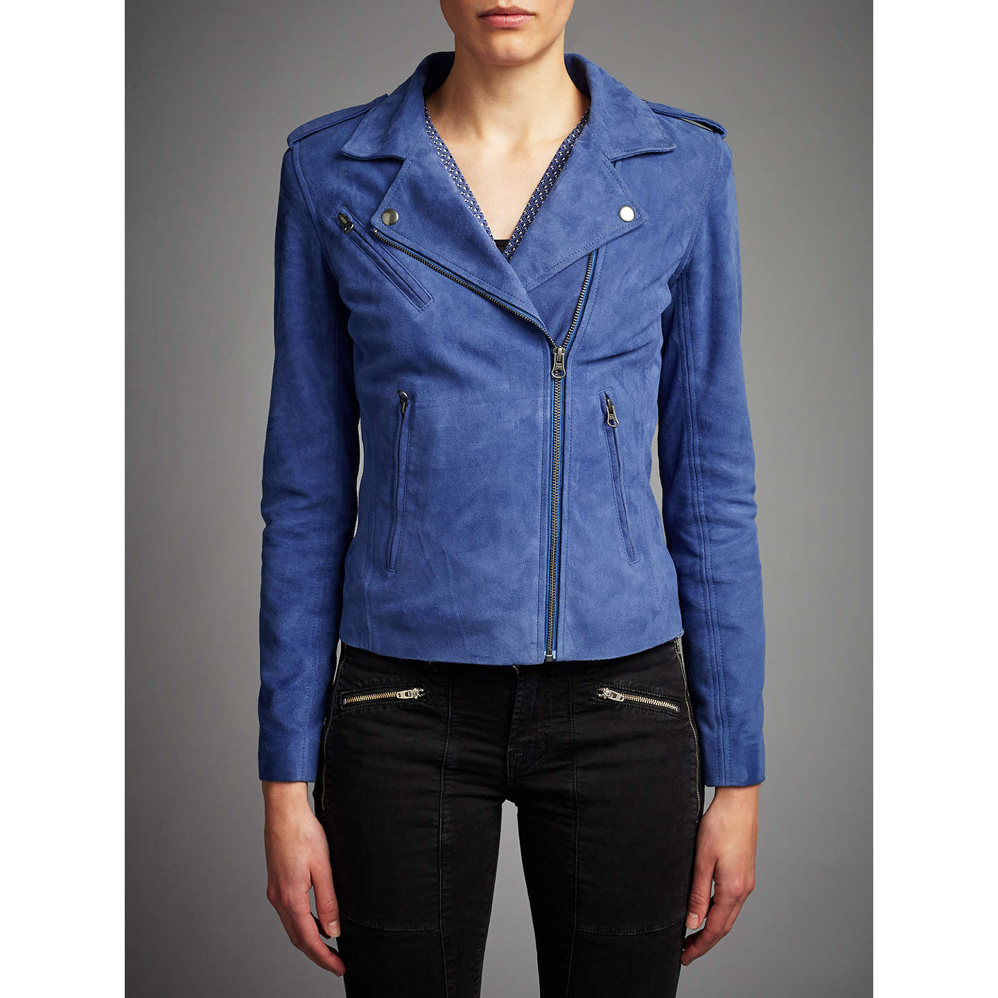 BuyDenim Wardrobe by Trilogy Harley Suede Jacket, Blue, 12 Online at johnlewis.com