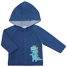 Buy John Lewis Baby Dinosaur Hooded Cardigan, Navy Online at johnlewis.com