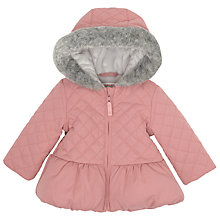 Buy John Lewis Baby Quilted Hood Jacket, Pink Online at johnlewis.com