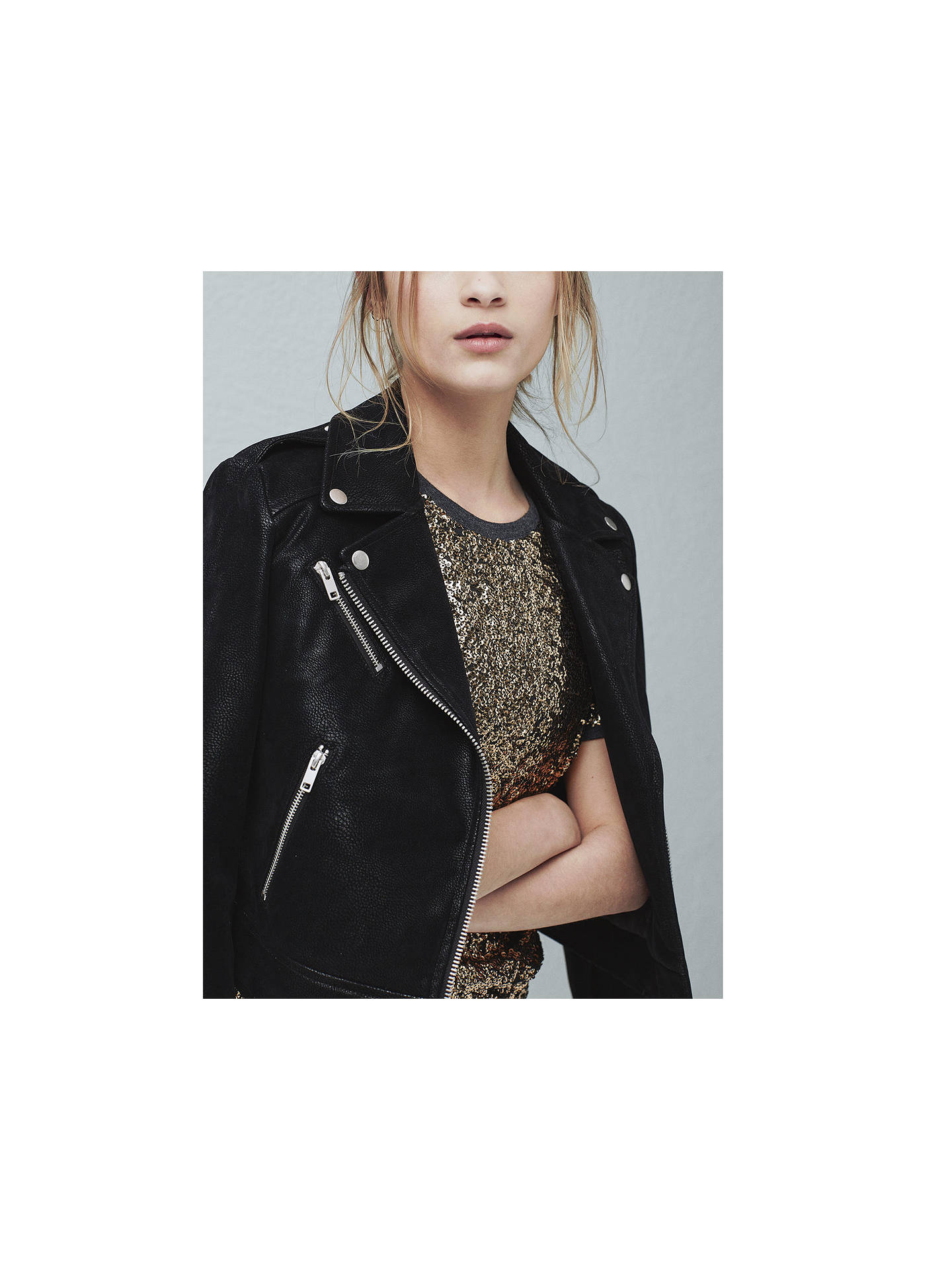 Buy Mango Zipped Biker Jacket, Black, XS Online at johnlewis.com