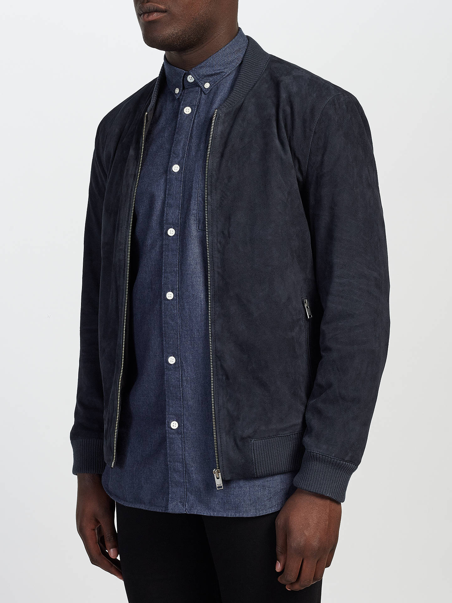62213a9a1 Selected Homme Dublin Suede Bomber Jacket, Dark Navy at John Lewis ...
