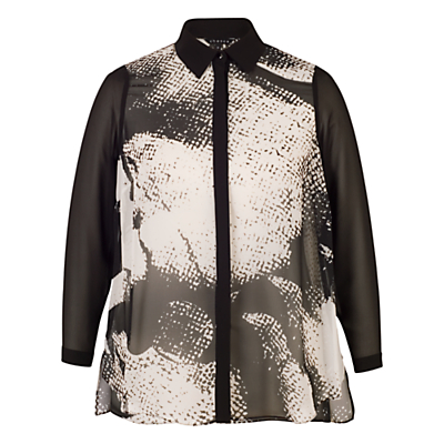 Chesca Printed Shirt, Black/Ivory