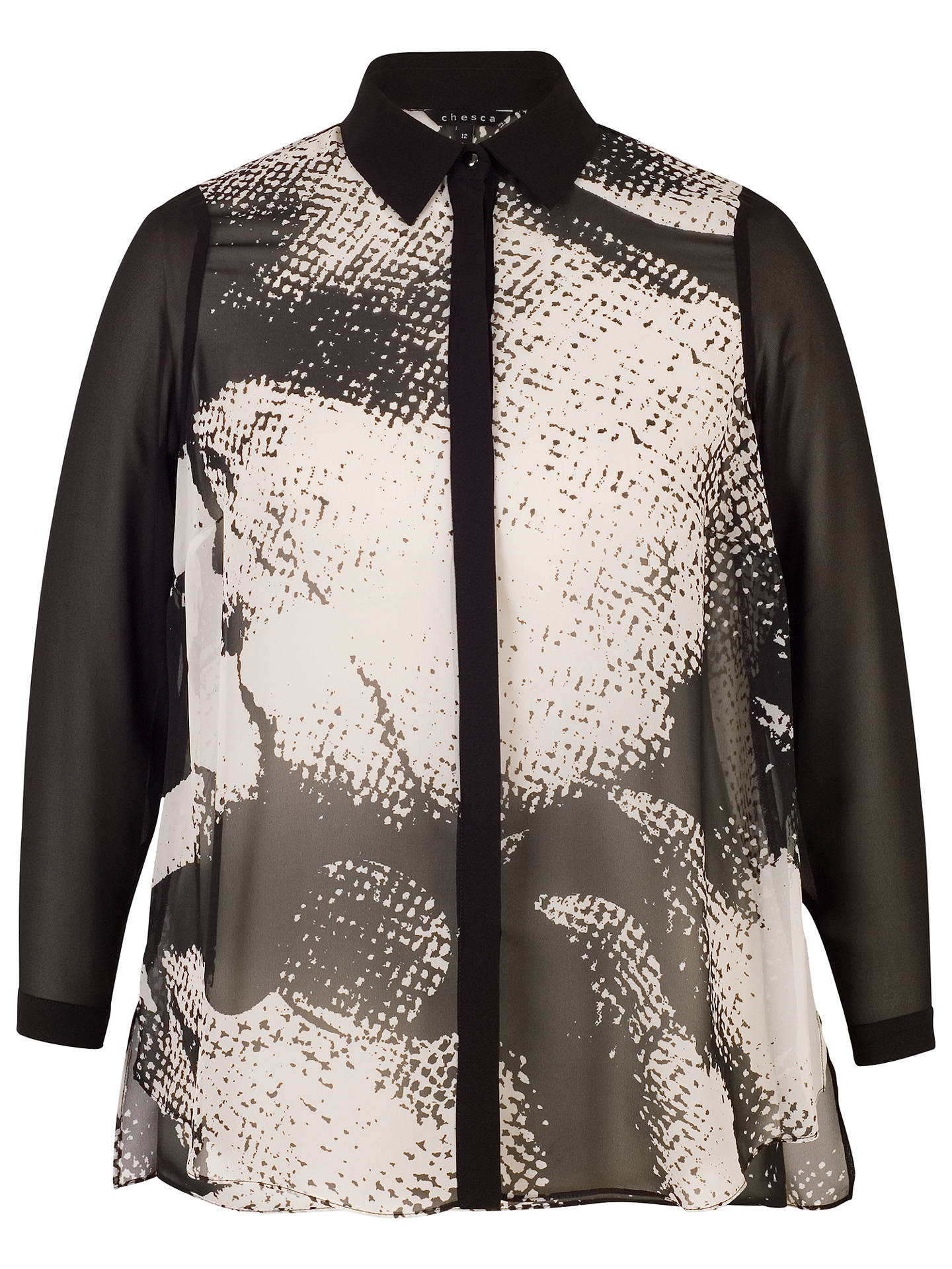 BuyChesca Printed Shirt, Black/Ivory, 14 Online at johnlewis.com