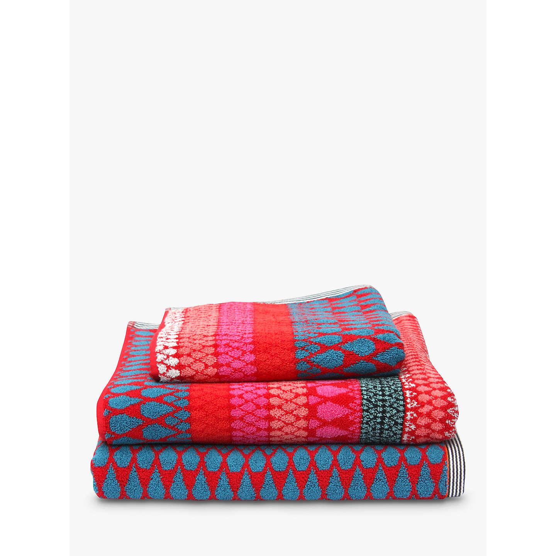 Margo Selby For John Lewis Faversham Towels, Red At John Lewis