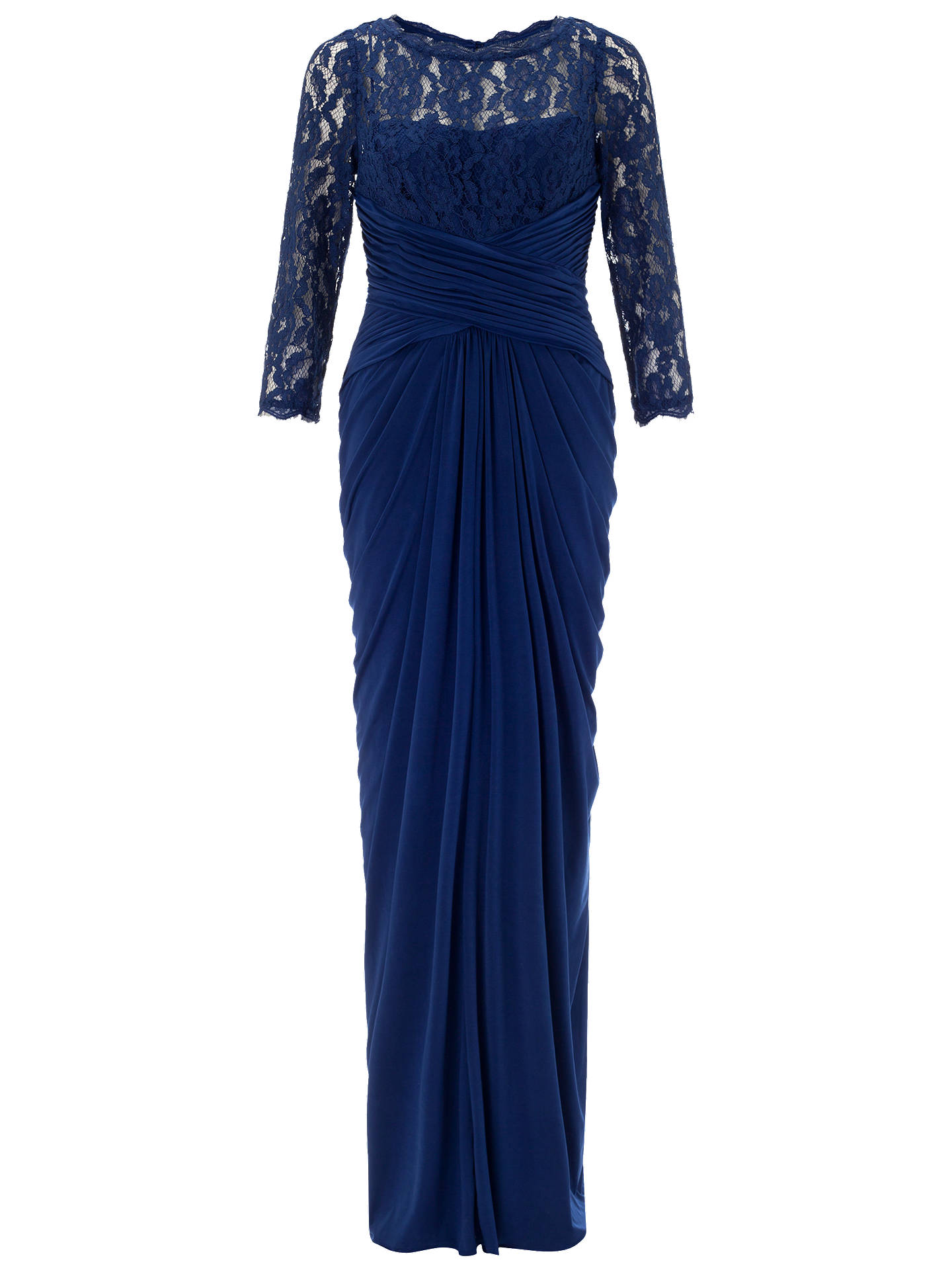 Adrianna Papell Lace And Venechia Jersey Gown, Navy at John Lewis ...