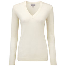 Buy Pure Collection Evelyn Cashmere Double V Neck Sweater, Soft White Online at johnlewis.com