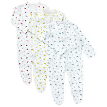 Buy John Lewis Baby Vintage Flower Sleepsuit, Pack of 3, Pink/Grey Online at johnlewis.com