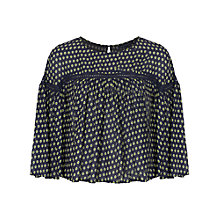 Buy French Connection Bacongo Dot Flute Sleeve Top, Utility Blue Online at johnlewis.com