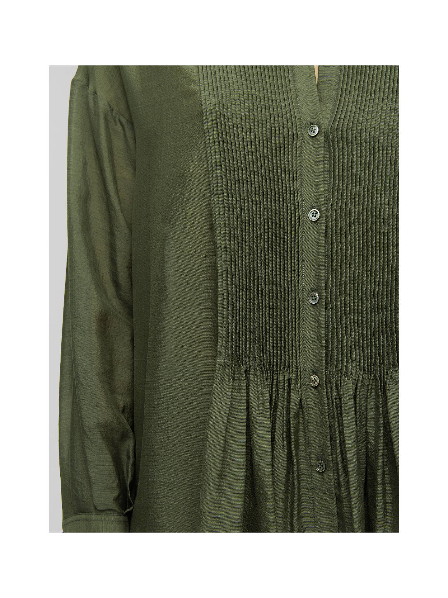 Buy Jigsaw Crinkle Silk Pintuck Blouse, Moss, 6 Online at johnlewis.com