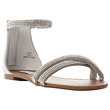 Buy Steve Madden Zippy Diamante Strap Flat Sandals, Silver Online at johnlewis.com