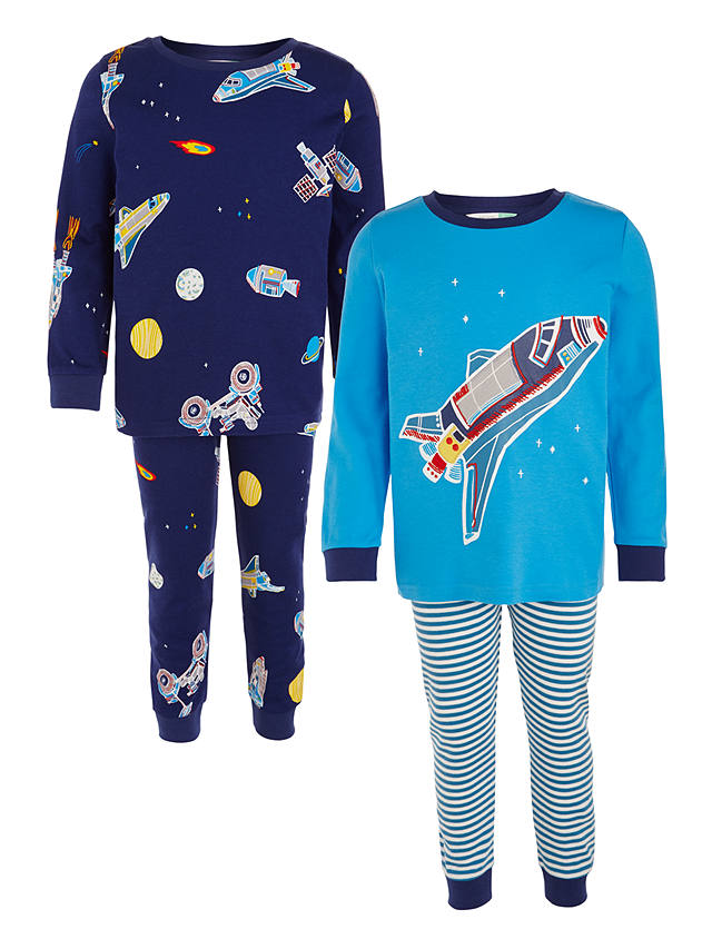 Buy John Lewis Children's Space Craft Pyjamas, Pack of 2, Blue, 2 years Online at johnlewis.com