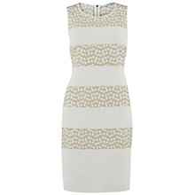 Buy Gina Bacconi Flower Embroidered Contrast Band Dress, Gold Online at johnlewis.com