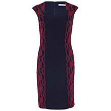 Buy Gina Bacconi Lace Panel Jersey Dress, Spring Navy/Red Online at johnlewis.com